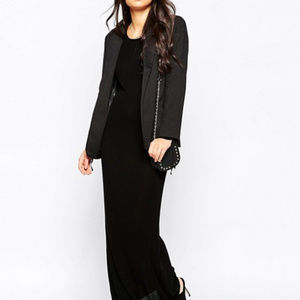ASOS Black Long sleeve knit bodycon Maxi dress